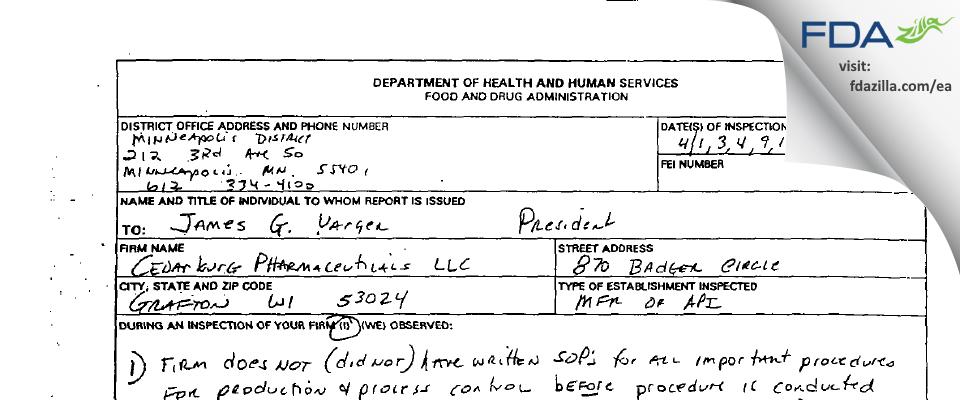 Cedarburg Pharmaceuticals FDA inspection 483 Apr 2003