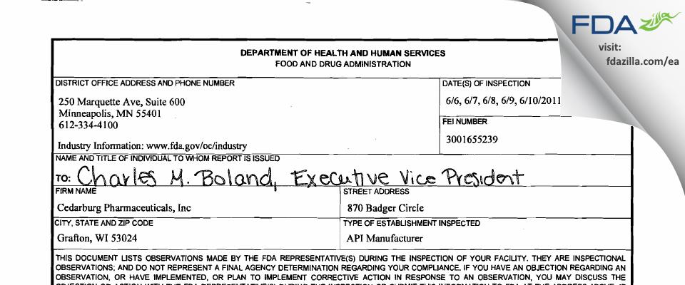 Cedarburg Pharmaceuticals FDA inspection 483 Jun 2011