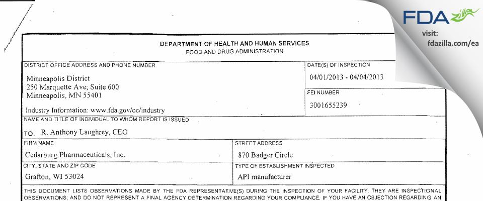 Cedarburg Pharmaceuticals FDA inspection 483 Apr 2013