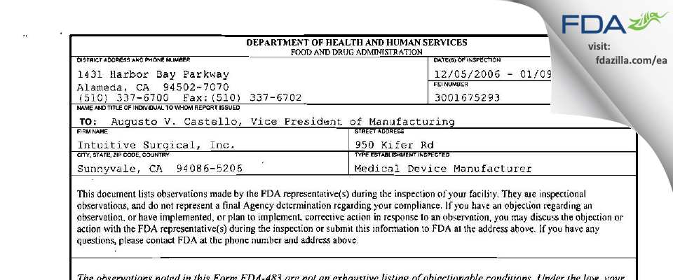 Intuitive Surgical FDA inspection 483 Jan 2007