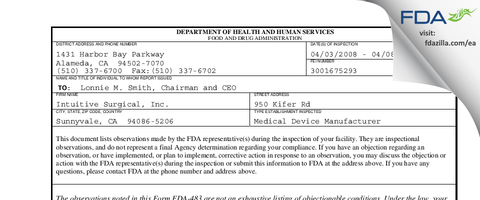 Intuitive Surgical FDA inspection 483 Apr 2008