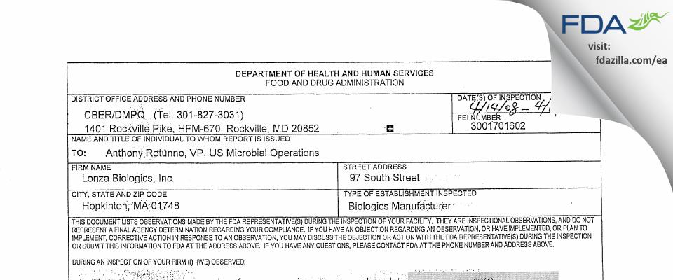 Lonza Biologics FDA inspection 483 Apr 2008