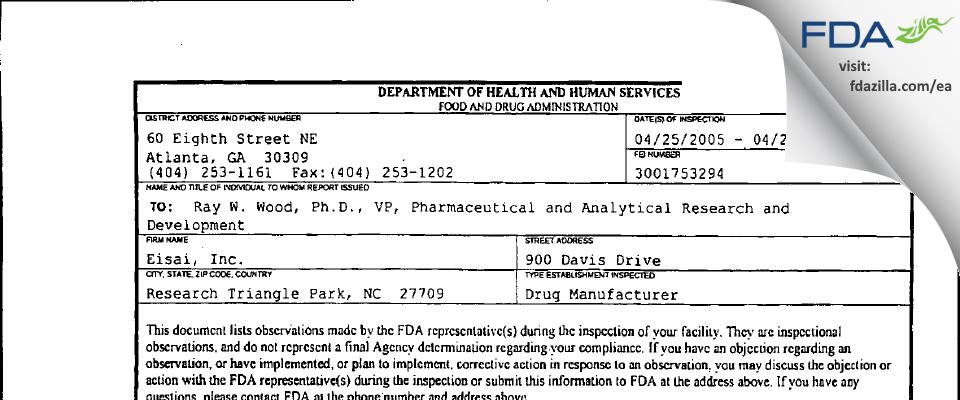 Eisai FDA inspection 483 Apr 2005