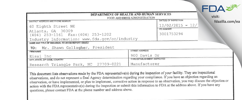 Eisai FDA inspection 483 Dec 2015