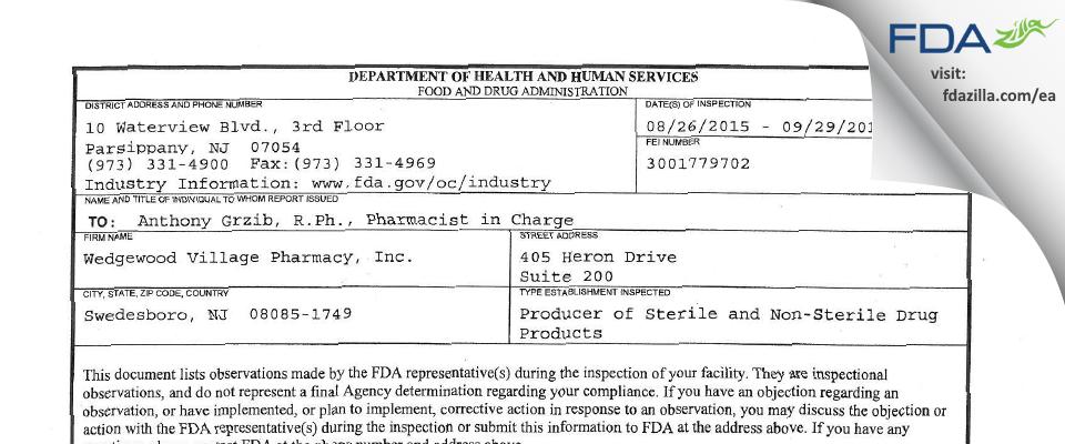 Wedgewood Village Pharmacy FDA inspection 483 Sep 2015