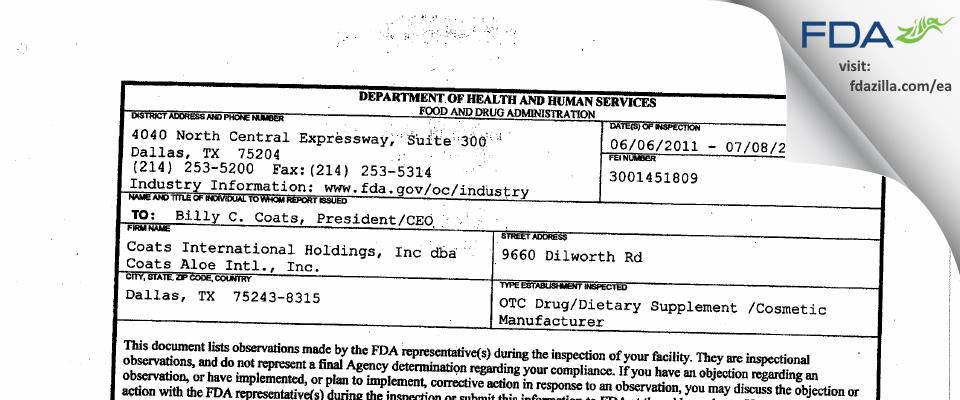 Fresenius Kabi USA FDA inspection 483 Jul 2011