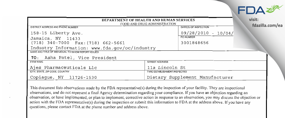 AJES Pharmaceuticals FDA inspection 483 Oct 2010