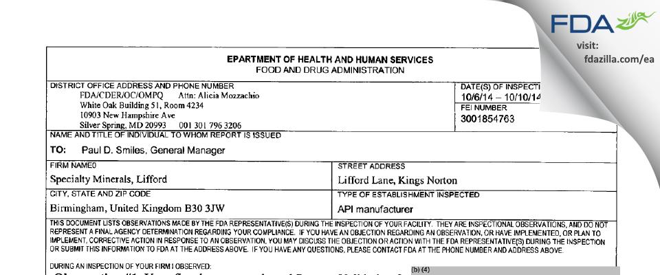 Minteq U K FDA inspection 483 Oct 2014