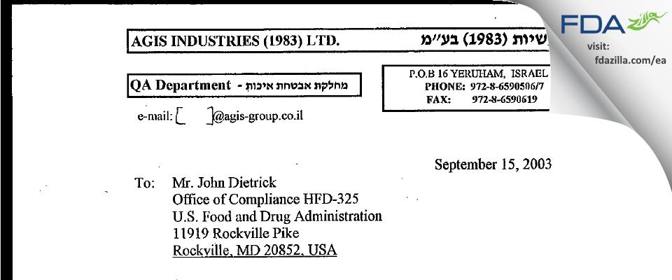 Perrigo Israel Pharmaceuticals FDA inspection 483 Sep 2003