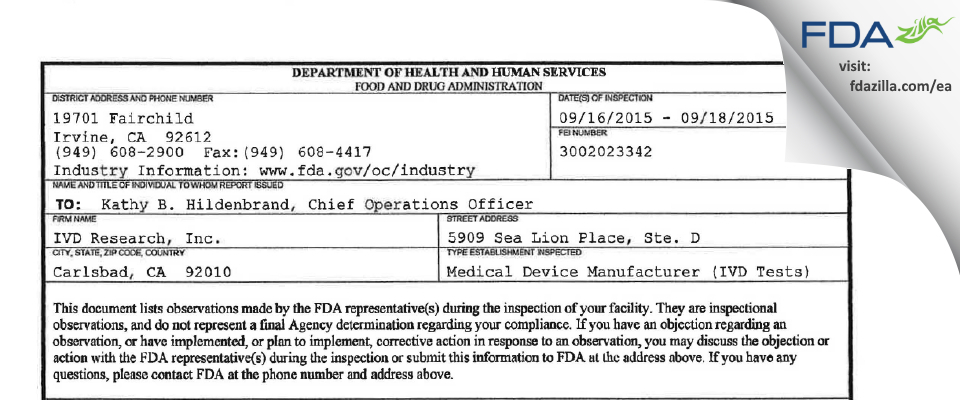 IVD Research FDA inspection 483 Sep 2015