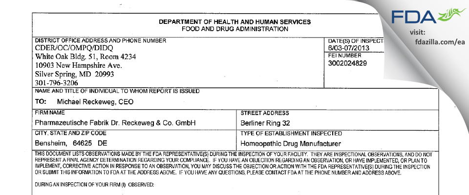 Pharmazeutische Fabrik Dr. Reckeweg & FDA inspection 483 Jun 2013