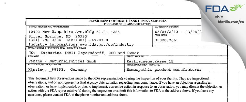 Pekana Naturheilmittel FDA inspection 483 Mar 2013