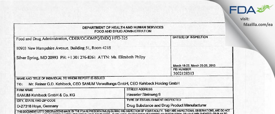SANUM-Kehlbeck & KG FDA inspection 483 Mar 2013