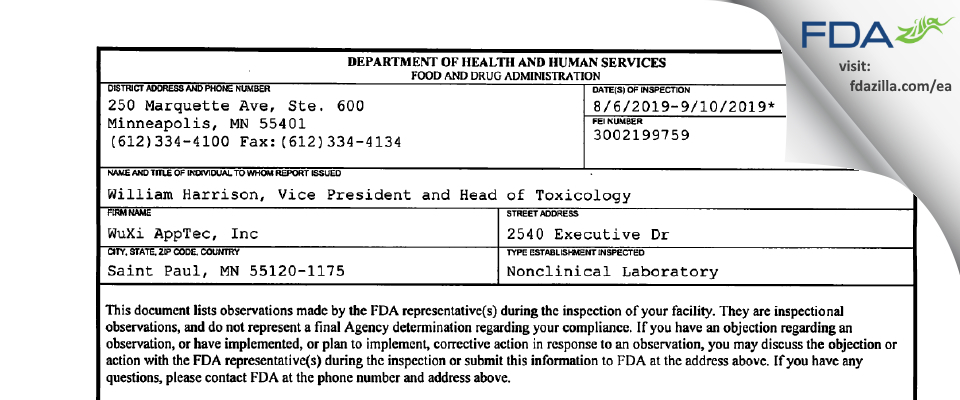WuXi AppTec FDA inspection 483 Sep 2019