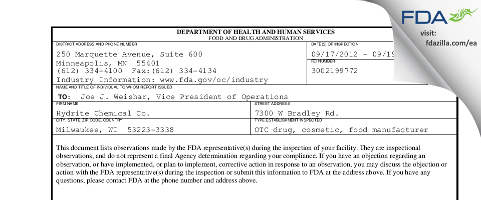 Hydrite Chemical FDA inspection 483 Sep 2012