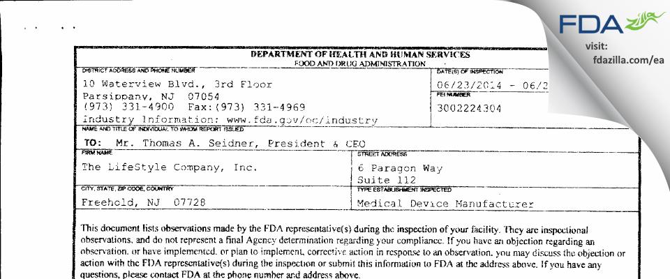 The LifeStyle Company FDA inspection 483 Jun 2014