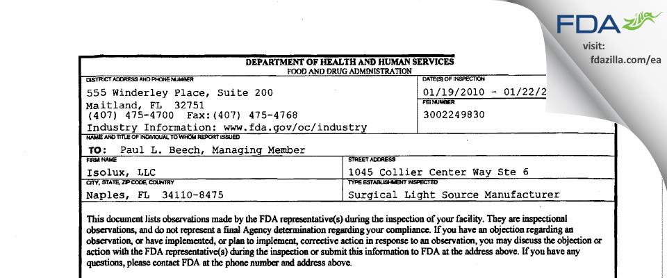 Isolux FDA inspection 483 Jan 2010