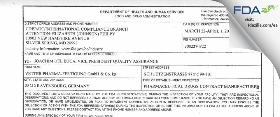Vetter Pharma Fertigung Gmbh & KG FDA inspection 483 Apr 2010