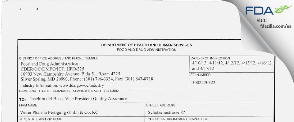 Vetter Pharma Fertigung Gmbh & KG FDA inspection 483 Apr 2012