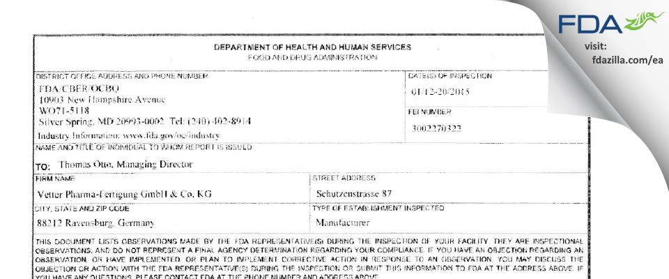 Vetter Pharma Fertigung Gmbh & KG FDA inspection 483 Jan 2015