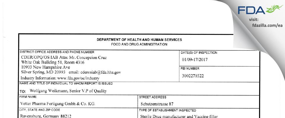 Vetter Pharma Fertigung Gmbh & KG FDA inspection 483 Jan 2017