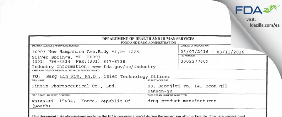 Sinsin Pharmaceutical FDA inspection 483 Mar 2016