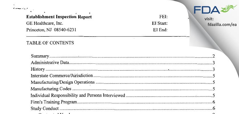 GE Healthcare FDA inspection 483 Jan 2013