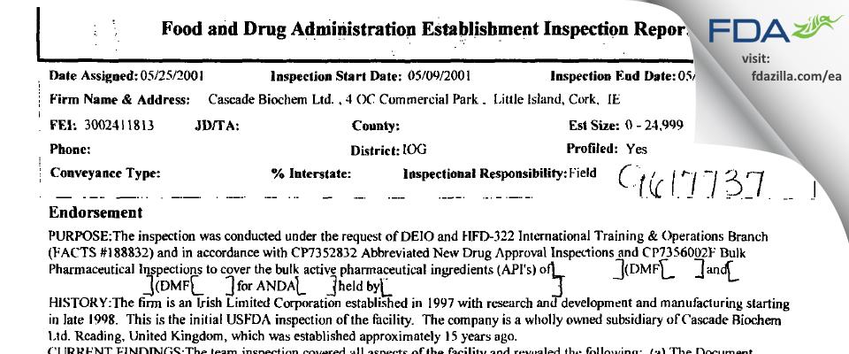 Johnson Matthey Pharmaceuticals Materials FDA inspection 483 May 2001