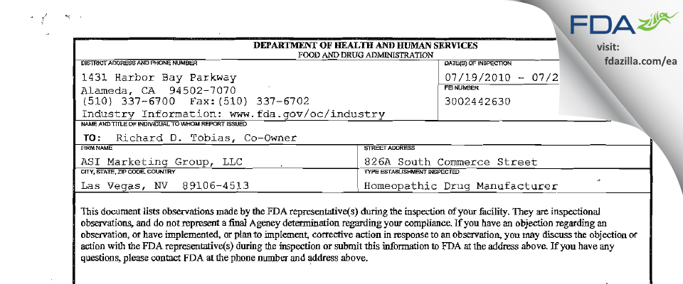 ASI Marketing Group FDA inspection 483 Jul 2010