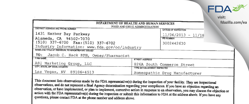ASI Marketing Group FDA inspection 483 Nov 2013