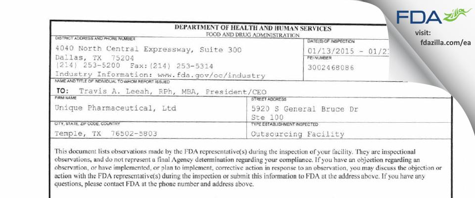 QuVa Pharma FDA inspection 483 Jan 2015