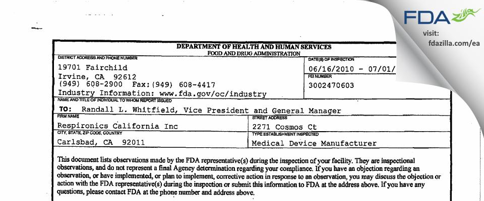 Respironics California FDA inspection 483 Jul 2010