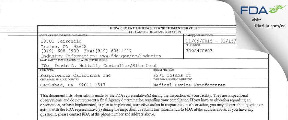 Respironics California FDA inspection 483 Jan 2016