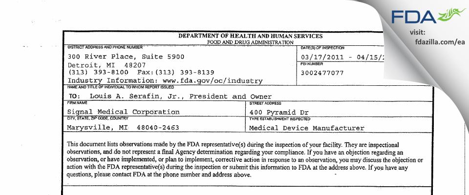 Signal Medical FDA inspection 483 Apr 2011