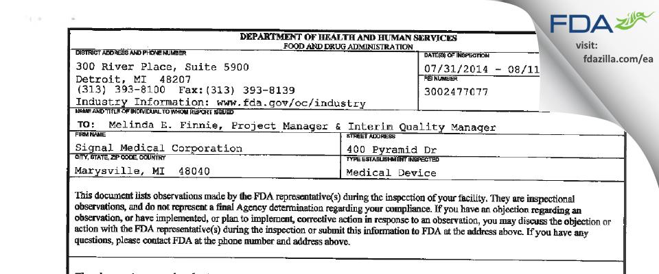 Signal Medical FDA inspection 483 Aug 2014