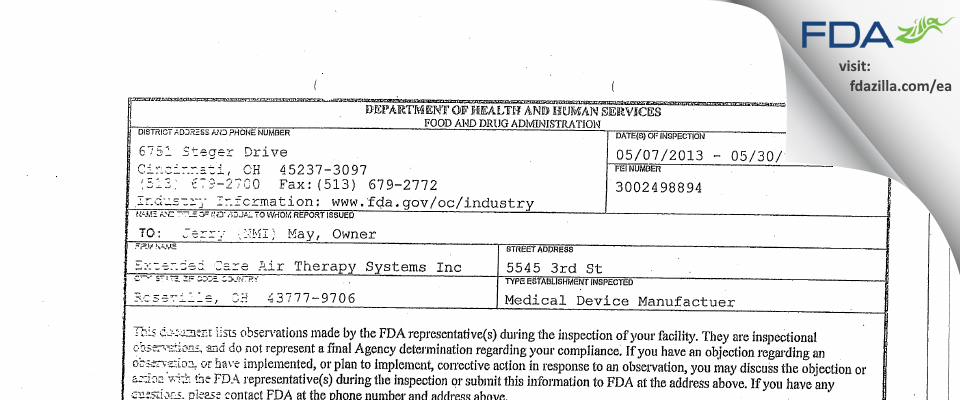 Extended Care Air Therapy Systems FDA inspection 483 May 2013