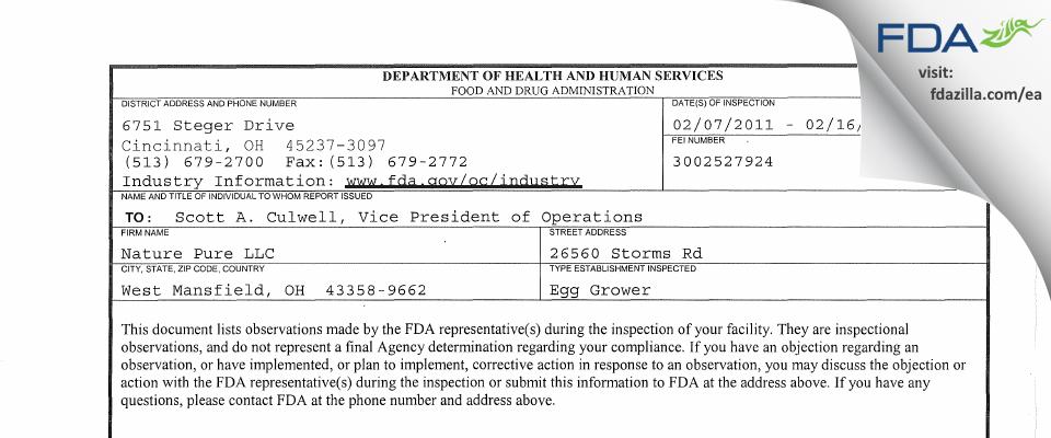 Nature Pure FDA inspection 483 Feb 2011