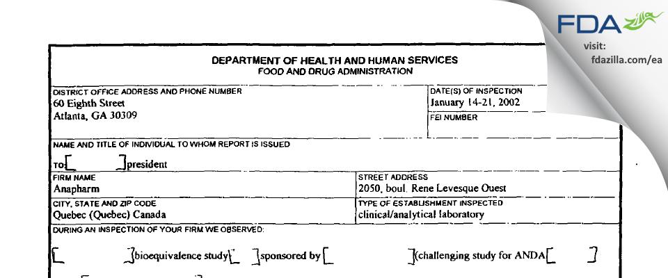 inVentiv Health Clinique aka Anapharm FDA inspection 483 Jan 2002