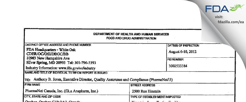 inVentiv Health Clinique aka Anapharm FDA inspection 483 Aug 2012