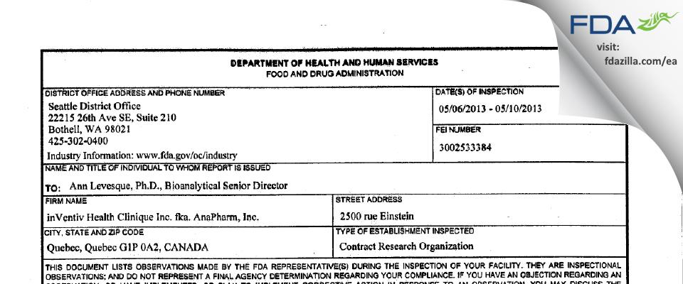 inVentiv Health Clinique aka Anapharm FDA inspection 483 May 2013
