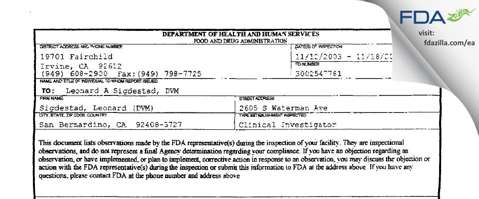 Sigdestad, Leonard (DVM) FDA inspection 483 Nov 2003