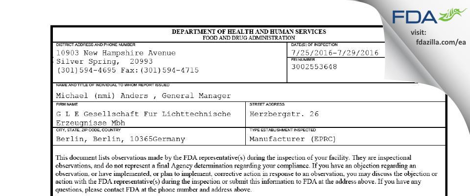 G L E Gesellschaft Fur Lichttechnische  Erzeugnisse Mbh FDA inspection 483 Jul 2016