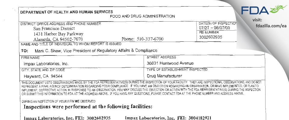 Impax Labs FDA inspection 483 Aug 2009
