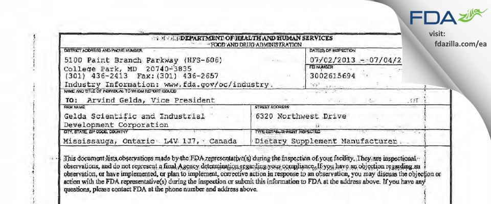 Gelda Scientific and Industrial Development FDA inspection 483 Jul 2013