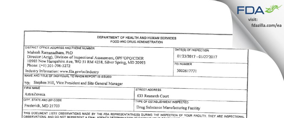 AstraZeneca Pharmaceuticals LP FDA inspection 483 Jan 2017