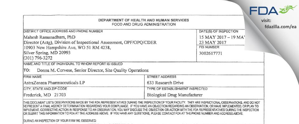AstraZeneca Pharmaceuticals LP FDA inspection 483 May 2017