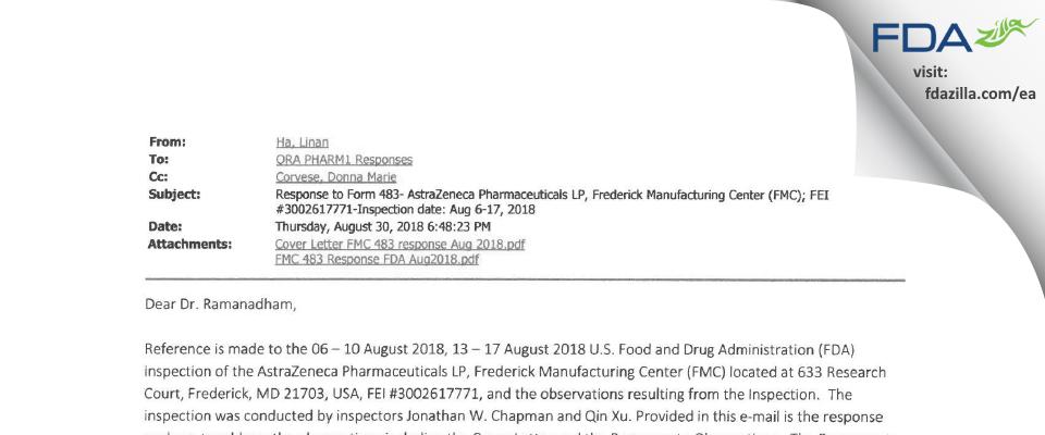 AstraZeneca Pharmaceuticals LP FDA inspection 483 Aug 2018