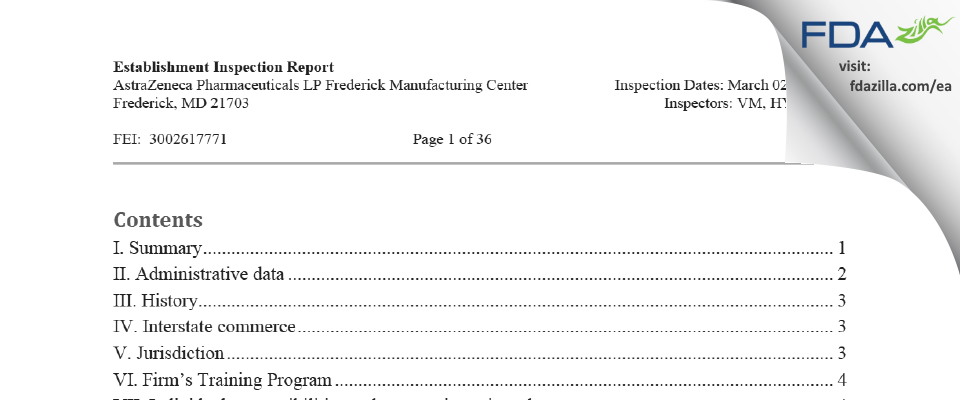 AstraZeneca Pharmaceuticals LP FDA inspection 483 Mar 2021