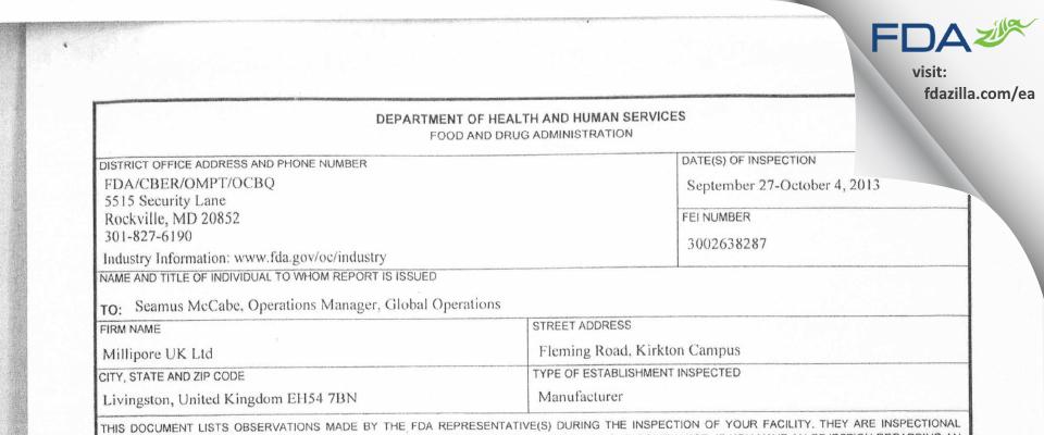 Millipore (U.K.) FDA inspection 483 Oct 2013