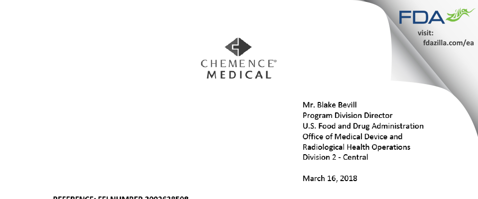 Chemence Medical Products FDA inspection 483 Feb 2018